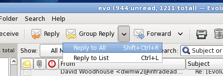 Evolution 'Group Reply' button with drop-down list